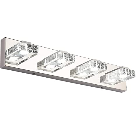 differently 0ce86 403f2 Bathroom Light,SOLFART 4 Lights Modern Glass Stainless Steel Vanity Wall  Light Over Mirror Long LED Dimmable Bathroom Lighting Fixtures