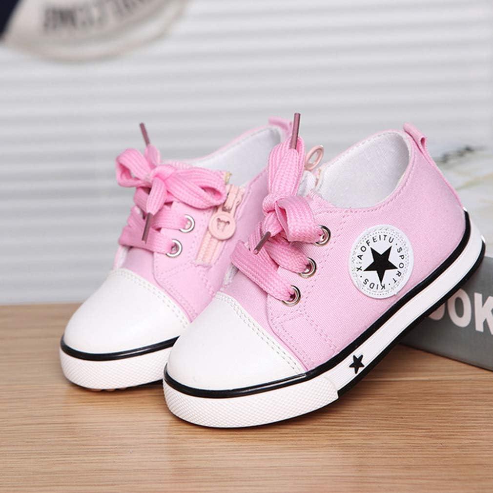 Chaussures De Toile Enfants High Top Zipper Sneaker Anti-Slipfashion Pompes Chaussure /Ét/é Unisexe Enfants Baskets