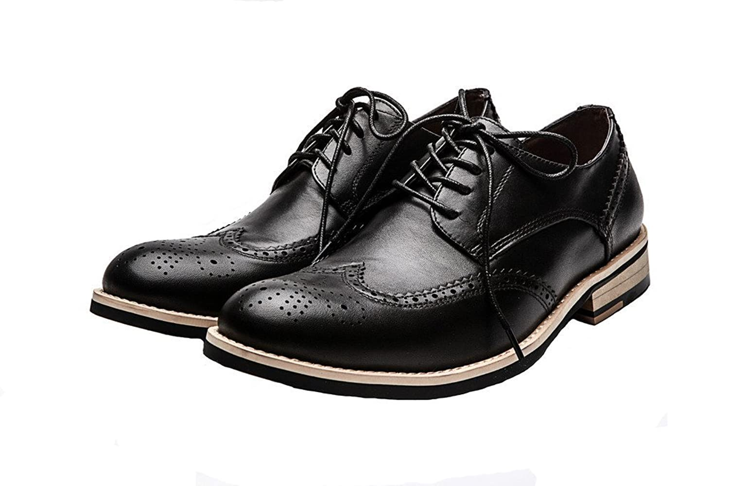 Durable Modeling DeliverSmile Menu0026#39;s Brown Lace Up Wing Tip Perforated Oxford Dress Shoes ...