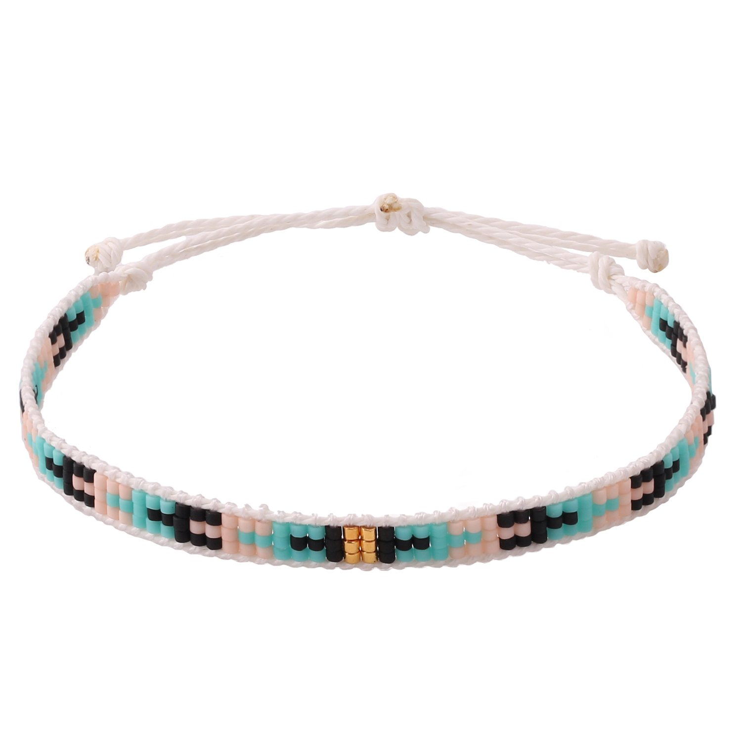 KELITCH Pearl Sead Beaded Wax rope Charm Wrap Bracelets Handmade Friendship New Women Jewelry (Green 66Q)
