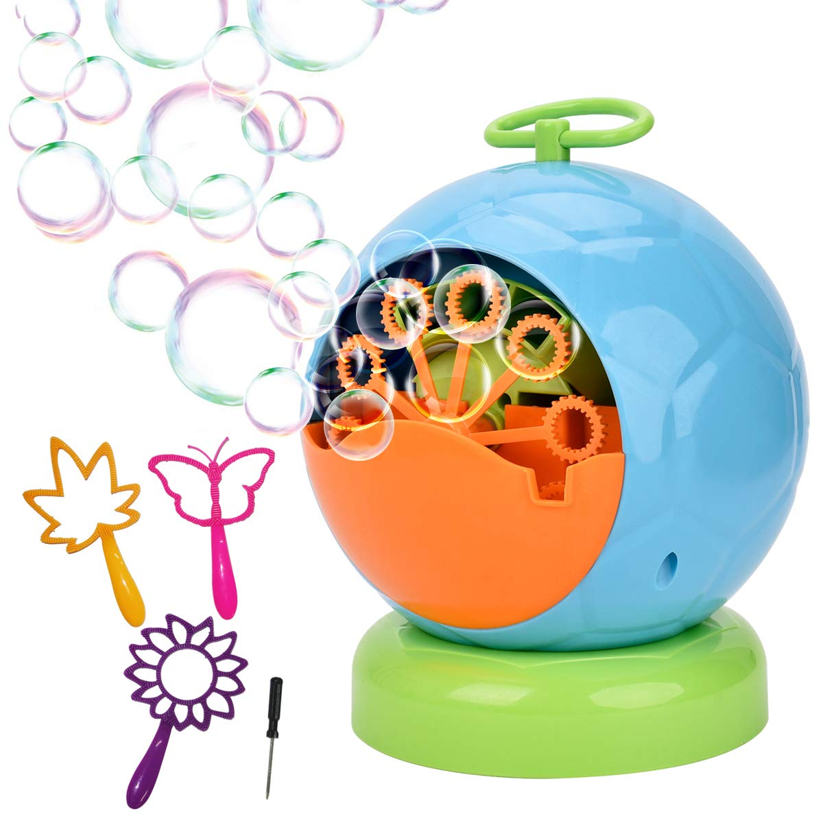 Showin Bubble Machine Automatic Bubble Blower Durable Bubble Maker Over 500 Colorful Bubble Per Minute For Kids Christmas Parties Wedding Use 4AA Battery Operated not included