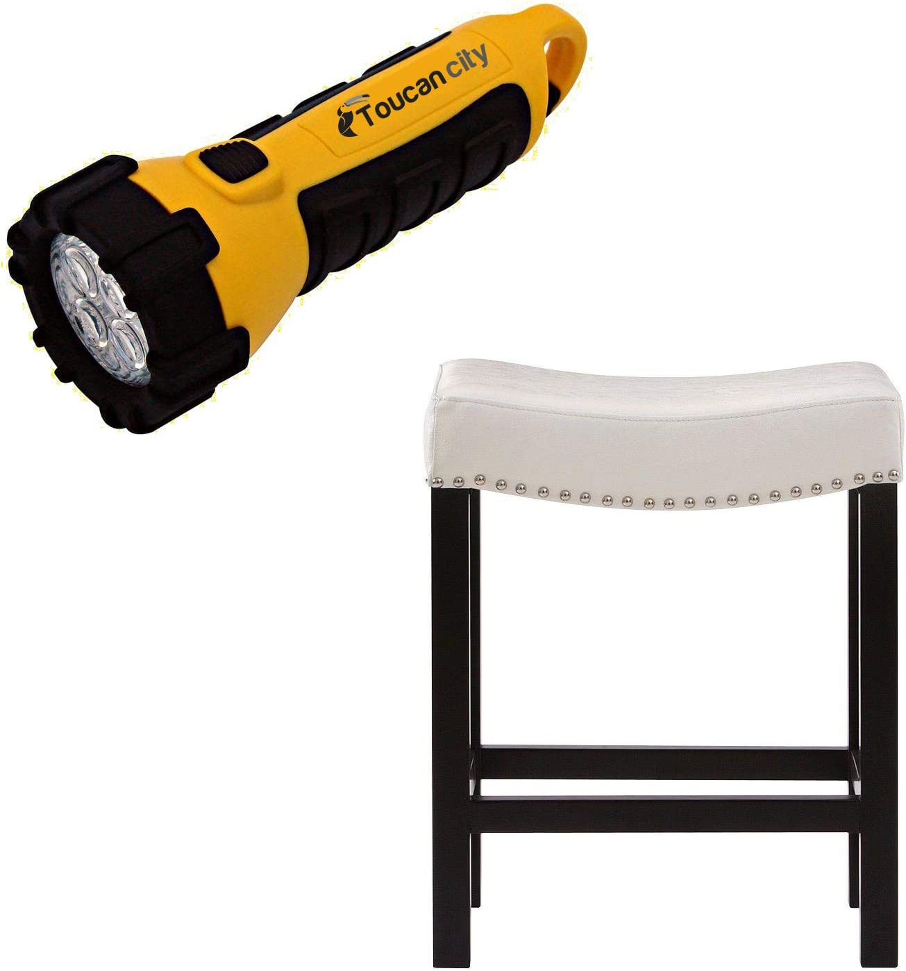 Toucan City LED Flashlight and Home Decorators Collection 24 in. Ivory Cushioned Curved Nailhead Counter Stool in Black 5376700400