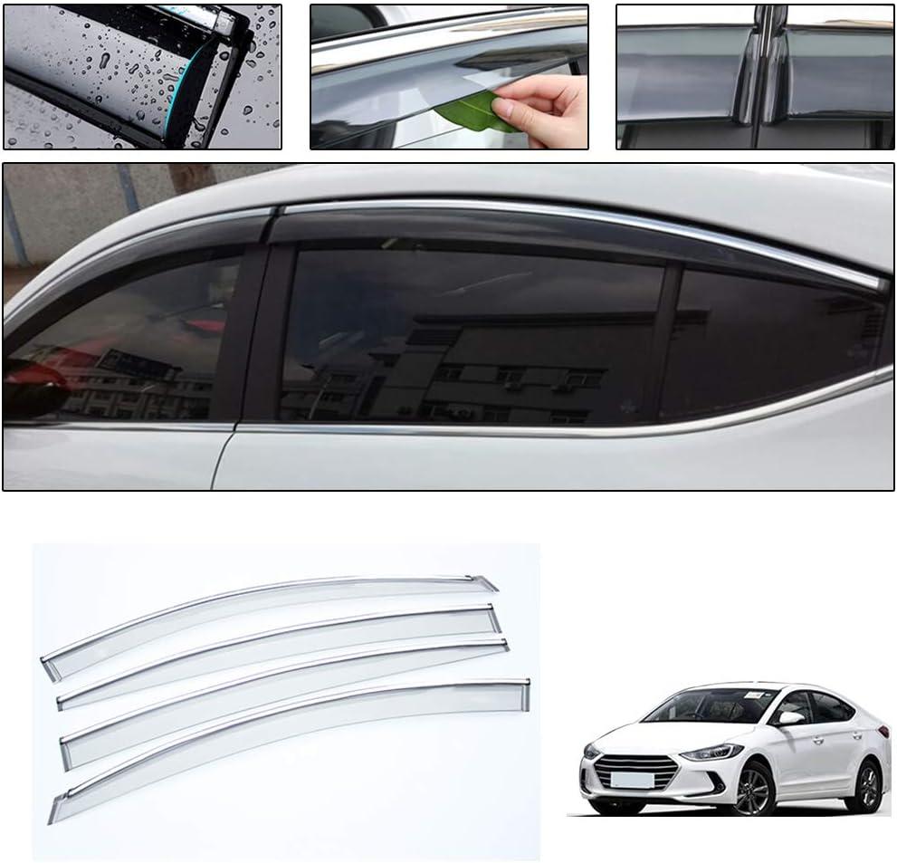 Side Window Deflectors for Hyundai Tucson 2015-2019 4PCS Car Window Visor Sun Rain Smoke Vent Shade Tape-On Outside Visors