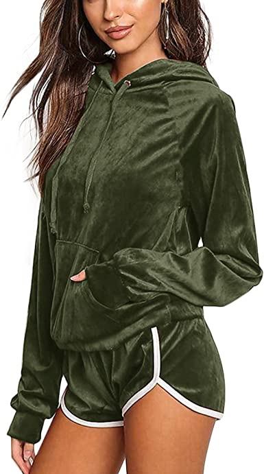 Cutecc Women Casual Velour Tracksuit 2 Pieces Long Sleeve Hoodie And Shorts Set At Amazon Women S Clothing Store
