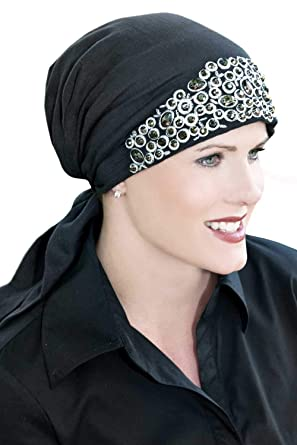 Embroidered Hand Sewn Beading - Easy to Tie (E-T-T) Scarf Cap Jeweled Black at Amazon Womens Clothing store: