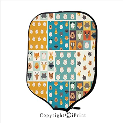 Neoprene Material,Durable Quality Paddle Cover,Cute Animals Vector Set in Cartoon Style(