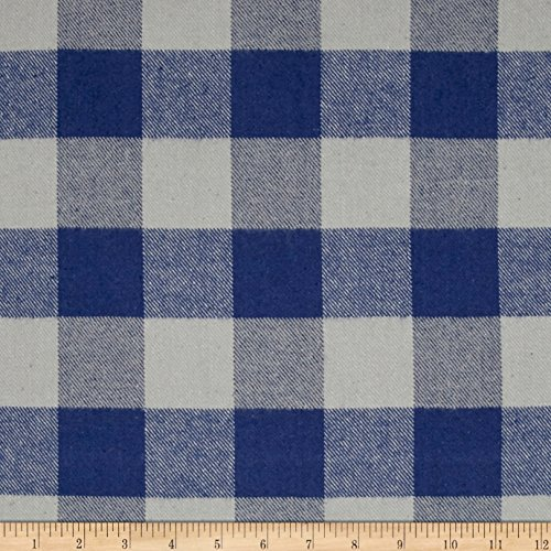 an Tahoe Flannel Plaids 7.2 Oz Double Brushed Med Buffalo Blue Fabric by The Yard, Blue ()