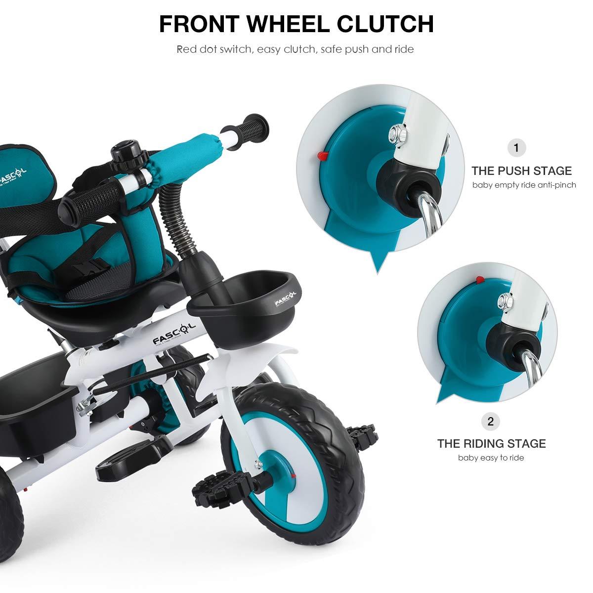 Fascol 4 en 1 Triciclo para Bebés con Embrague de la Rueda ...