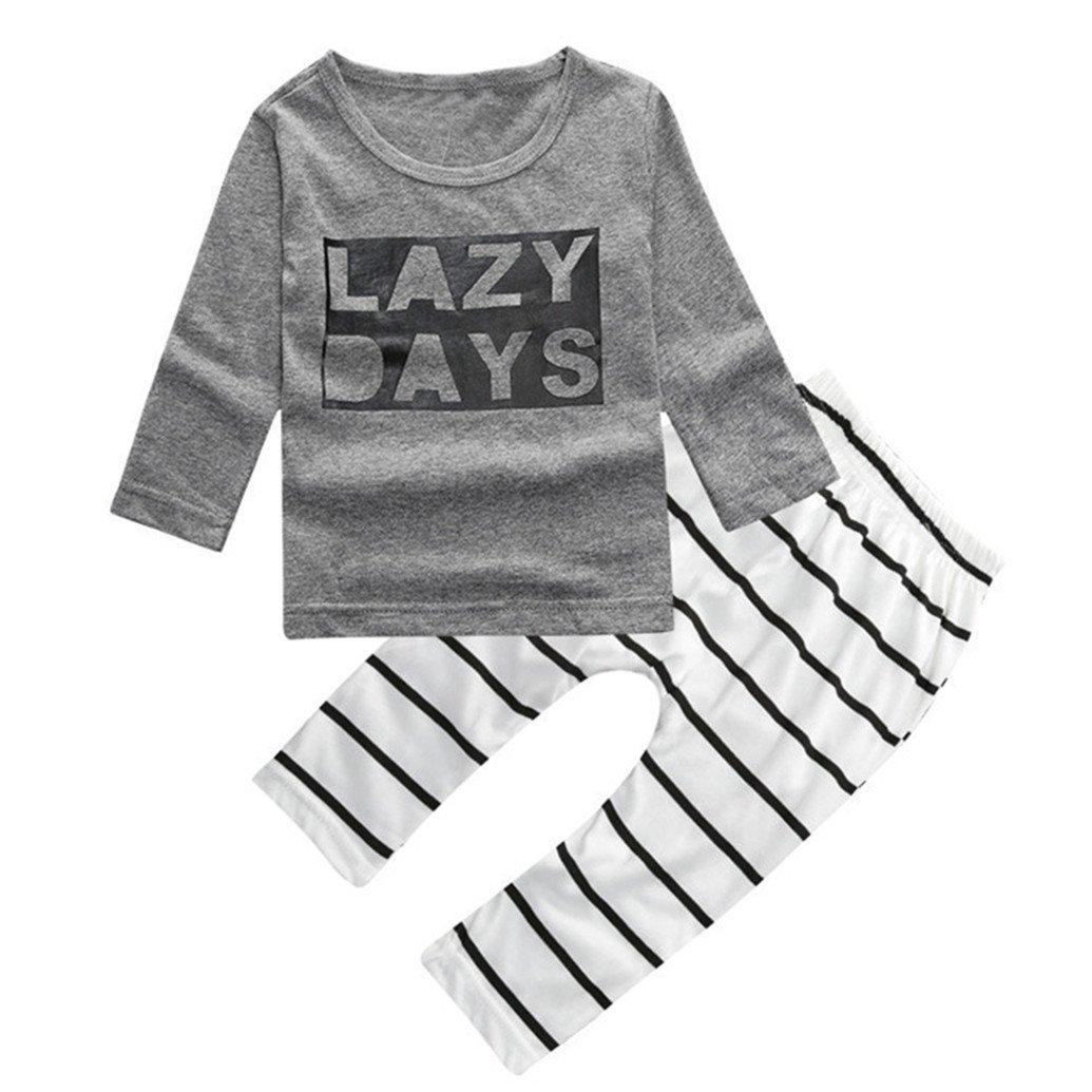 Floralby Baby Boy Girl Letter Print Long Sleeve T-shirt Striped Pants Outfit