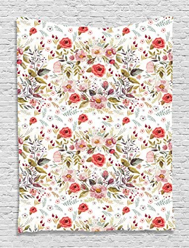 Ambesonne Flower Tapestry, Hand Drawn Romantic Flowers and Leaves Spring Season Blossoms Garden Vintage Style, Wall Hanging for Bedroom Living Room Dorm, 60 X 80 , Pink Red