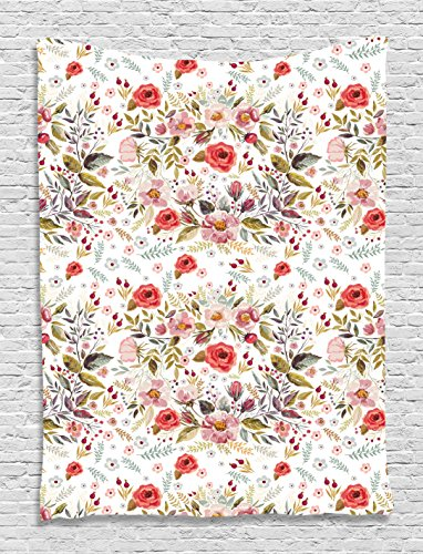 Flower Tapestry Romantic Decor by Ambesonne, Romantic Floral Roses and Flowers Bud Leaves Style Spring Design, Bedroom Living Room Dorm Wall Hanging Tapestry, 60 X 80 Inches, Pink Red Grey Green - Floral Tapestry Top