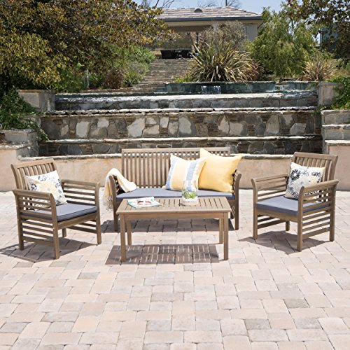 Christopher Knight Home Desmond Outdoor 4 Piece Grey Finished Acacia Wood Chat Set with Dark Grey Water Resistant Cushions
