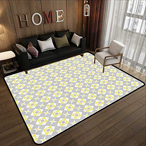 (Carpet Flooring,Grey and Yellow,Tile Inspired Squares Rounds in Triangles Image,Light Grey Light Yellow and White 35