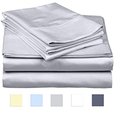 SanCozy 400 Thread Count Sheet Set, 4 Piece set, 100% Premium Cotton, Queen size,Ligh Grey,Sateen Weave Bedsheet, Breathable, Fits up to 18 inches deep mattresses by