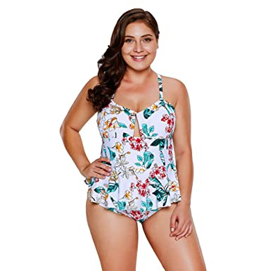 11863d63e16d47 CARMELAA 2018 Plus Size Floral Print Peplum One Piece Swimsuit Women Push  up Monokini Swimwear Skirt