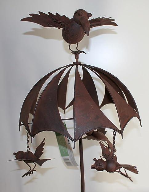 Großes Windspiel Aus Metall   Regenschirm   123cm   Vogel Windrad  Gartenstecker Für Garten Balkon Terrasse