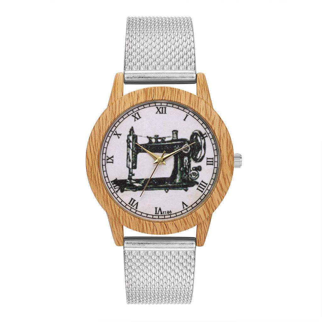 Aobuang Moda Madera Grano Mujeres Reloj De Pulsera Cristal Espejo ...