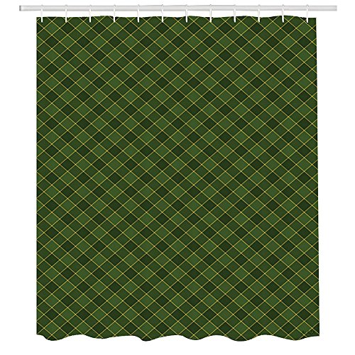 Green Shower Curtain,Traditional Old Fashioned Argyle Pattern Retro Style Plaid,Fabric Bathroom Decor Set with Hooks,72 by 72 inches,Hunter Green Forest Green Yellow ()
