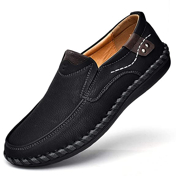 Men's Penny Loafers Premium Leather Casual Shoes Breathable Driving Shoes Flats Boat Shoes Slip on Black