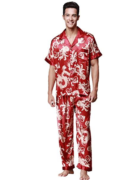Menschwear Hombre Pajamas Set Serie Pijama Casual y Cómodo(Medium,Rojo)