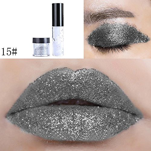 Nature Eyeshadow Hosamtel 4 Color Pearl Shimmer Long-lasting Highlight Pigment Loose Eye Shadow Makeup Powder Cosmetic Set for Body Face Hair Nail Decal (15#) (Being True Soft Lip Color)