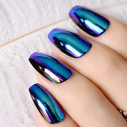 Amazon.com : Ballerina Coffin Nails Tips Mirror Chrome Reflection False Nail Magic Mirror Effect Holo Blue Purple Fake Nails Z757 : Beauty