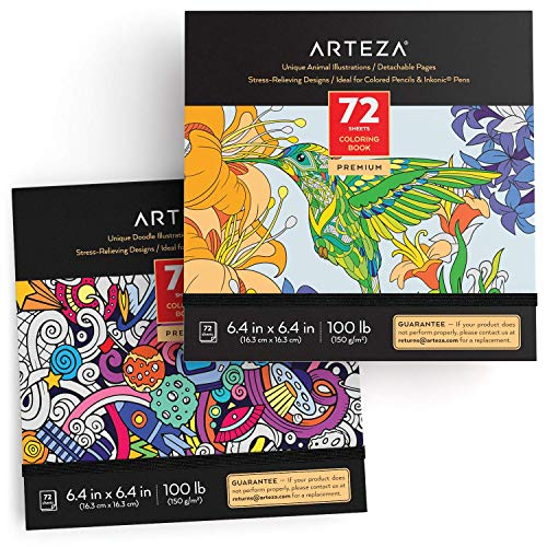 Arteza Doodle and Animal Coloring Books for Adults, 2, Black Outlines, 144 Relaxing Coloring Pages for Relieving Stress and Anxiety for Adults & Teens, Encourages Meditation, Promotes Mindfulness