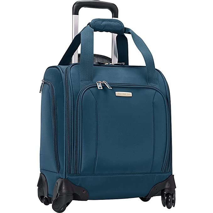 Samsonite Spinner Underseater with USB Port, Rolling Carry-On With Laptop Pocket - Fits 14.2 Inch Laptop - (Majolica Blue) best personal item luggage