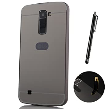 Funda Espejo para LG K10 2016 Aluminio Metal Carcasa Color Negro