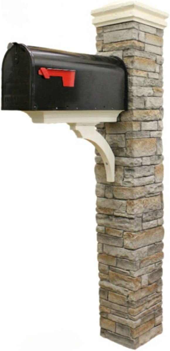 Eye Level Gray Cast Stone Mailbox Post With Curved Cap Amazon Com