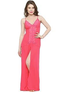 c38dc13a805 N-Gal Women s V-Neck Splicing Lace Nighty Night Dress Nightwear with ...