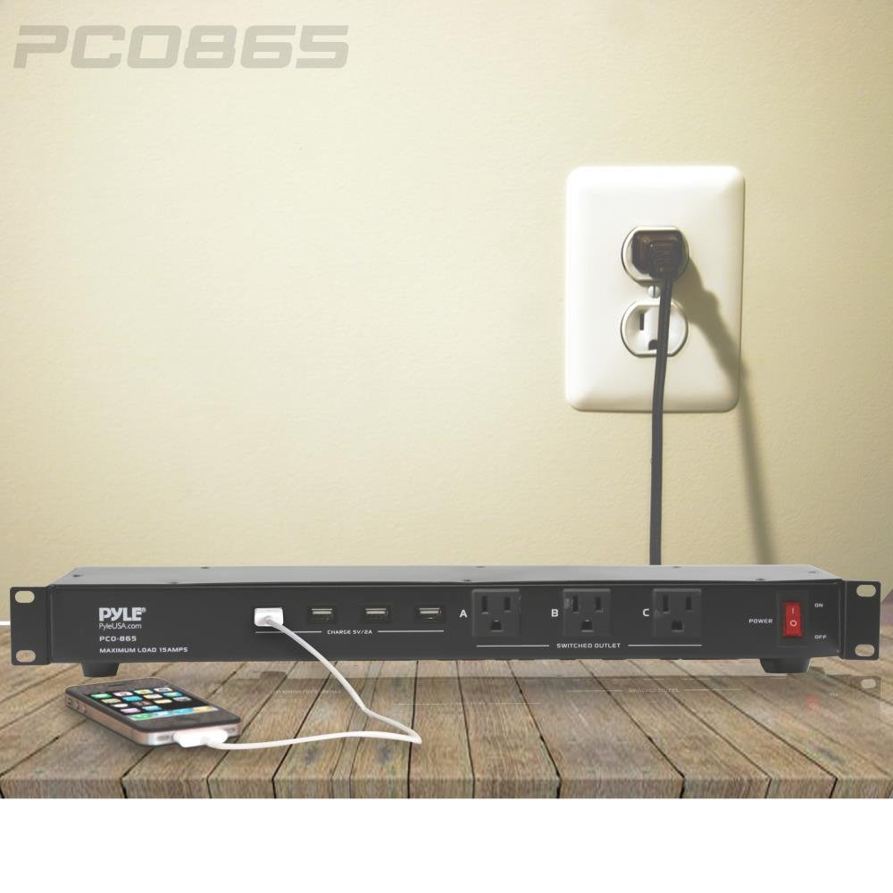 PCO865 SOUFV Pyle 19 Outlet 1U 19 Rackmount PDU Power Distribution Supply Center Conditioner Strip Unit Surge Protector 15 Amp Circuit Breaker 4 USB Multi Device Charge Ports 15FT Cord