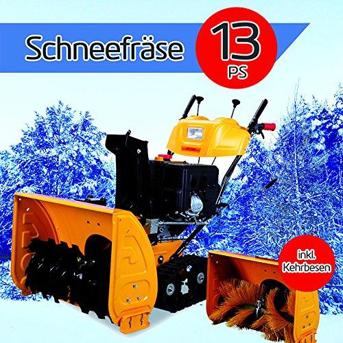 Benzinmotor Schneefräse mit Raupenantrieb 13PS Extrabreit 71 cm inkl. Kehrbürsten Satz Loncin Wintermotor Schneeschieber