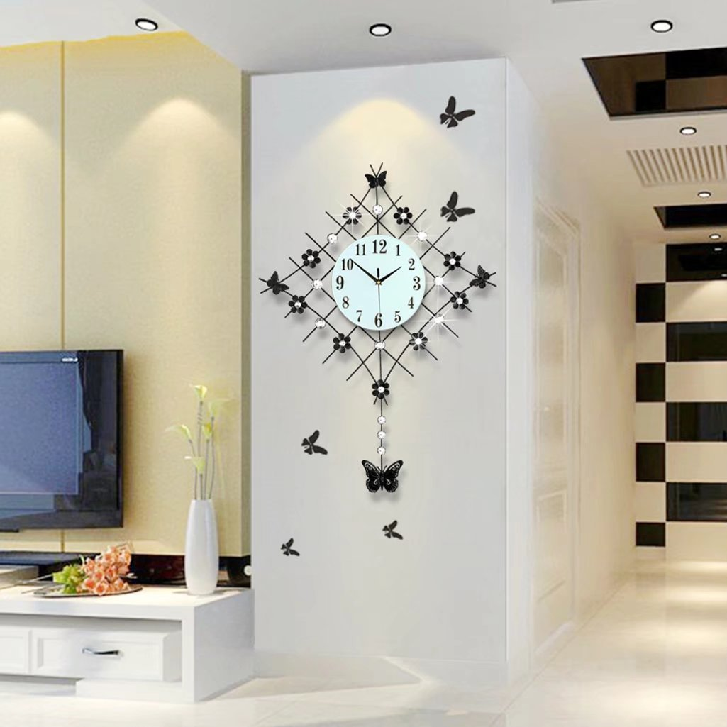 A-KUYA 欧式 簡約 花 蝶 モダン 振り子時計 数字時計 静か デザイン 壁掛け おしゃれ 掛け時計 デジタル インテリア ホーム 客室 電池式 静音 リビング 二色 ブラック B073RFRY9F ブラック ブラック