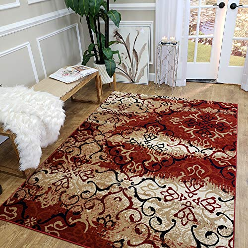 MH10 | Maxy Home Leila Distressed Floral Red Beige 5' x 7' New Trend Bohemian Abstract Thick Area Rug
