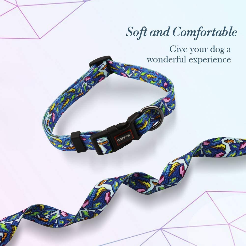 QQPETS Dog Collar Personalized Soft Comfortable Adjustable Collars for Small Medium Large Dogs Outdoor Training Walking Running