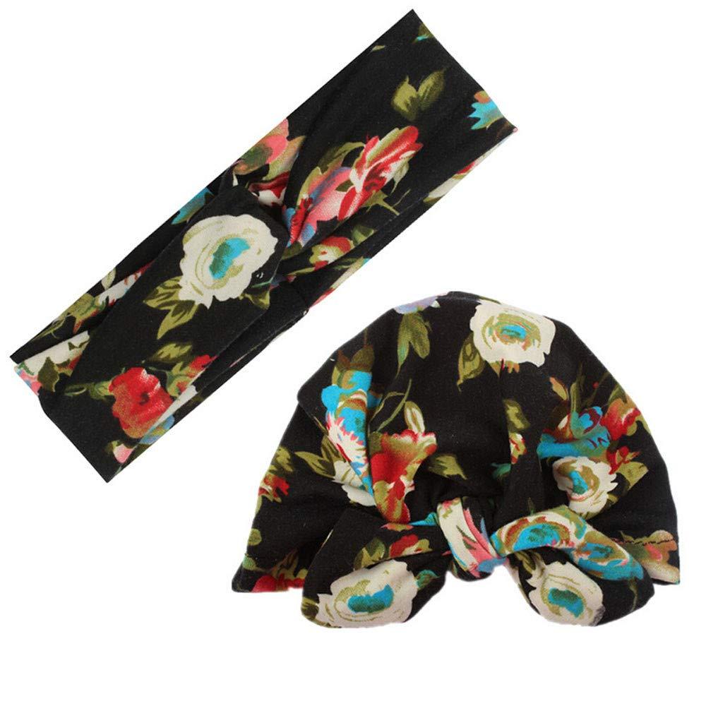 Bonnet B/éb/é Turban BZLine Mother Baby Set-Mode Boh/ême Fleur imprim/ée /Élastique Accessoires pour cheveux Bandeau Maman