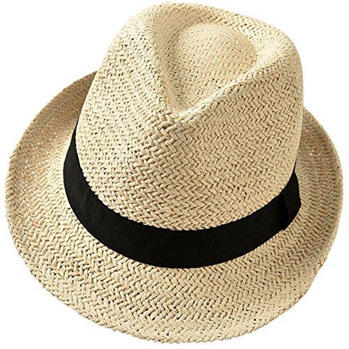 Fedora Straw Hat (YOYEAH Panama Fedora Beach Sun Hats Floppy Short Brim Jazz Hat Beige)