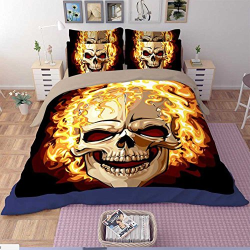 3D Skull Fire Print Home Duvet Quilt Cover Quality Duvet Cover Set Queen Size 4pcs with Duvet Cover, Bed Sheet, 2pillow Case(comforter Not Included)