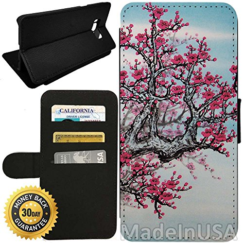 Flip Wallet Case for Galaxy S8 (japanese cherry blossom) with Adjustable Stand and 3 Card Holders   Shock Protection   Lightweight   by Innosub (Three Light Blossom)