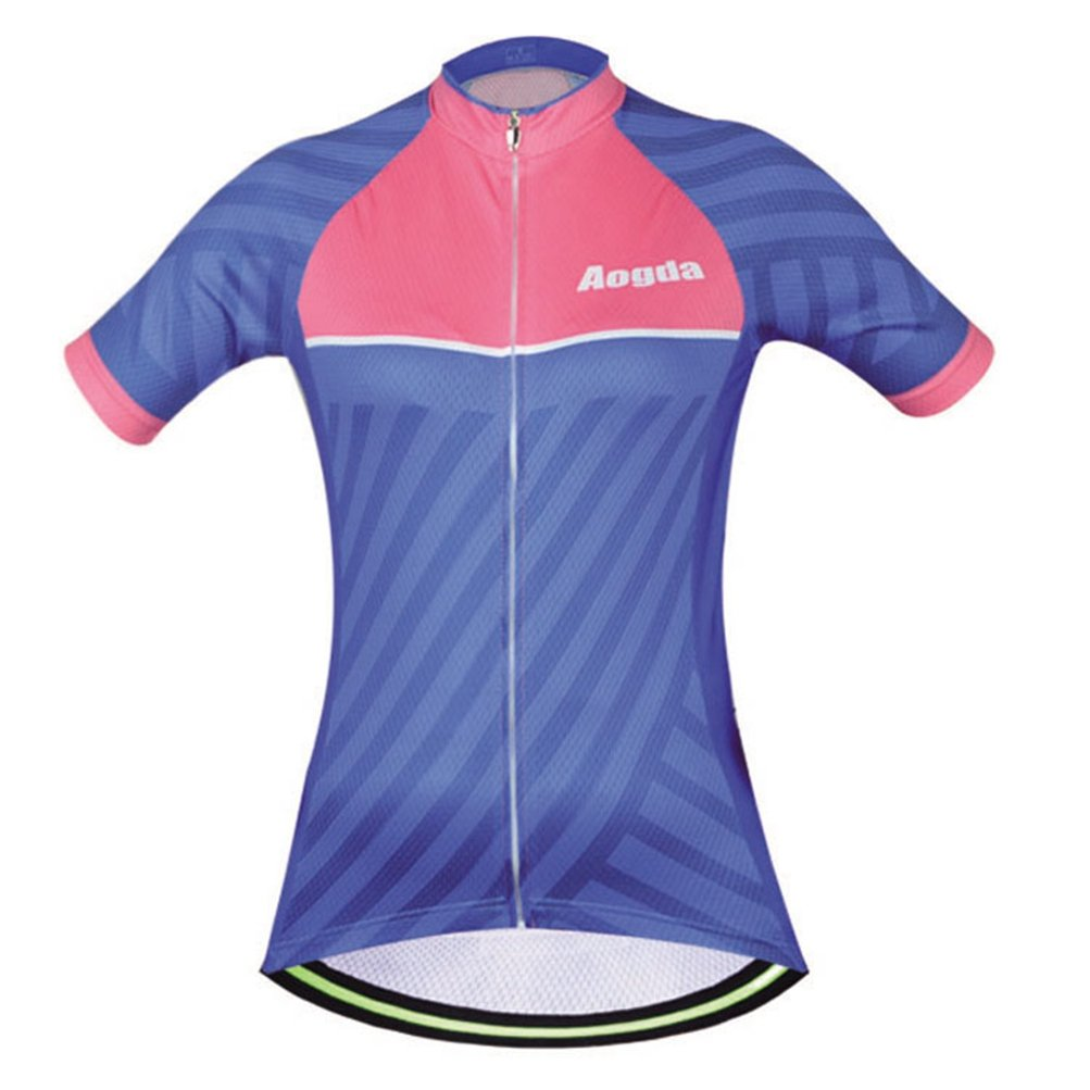 Uriah Women's Cycling Jersey Polyester Short Sleeve Blue Pink Size L by Uriah