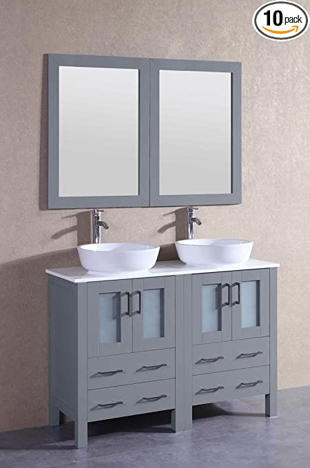 Bosconi Bathroom Vanities 48 Double Vanity Set With Oval Vessel