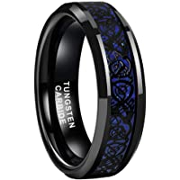 BestTungsten 6mm 8mm Black Tungsten Rings for Men Women Wedding Bands Celtic Dragon Purple Carbon Fiber Inlay Comfort…