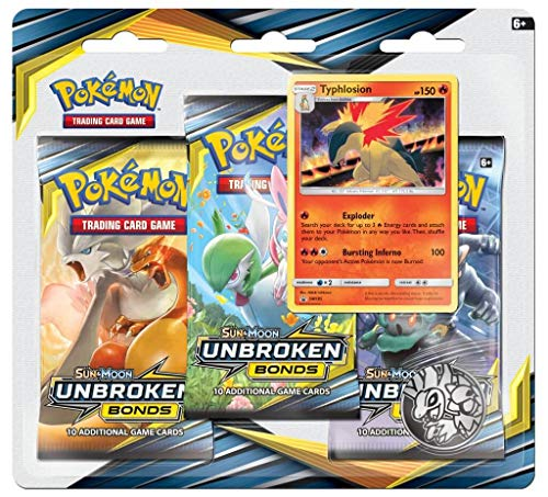 Pokemon TCG: Sun & Moon Unbroken Bonds 3 Pack Blister Typhlosion