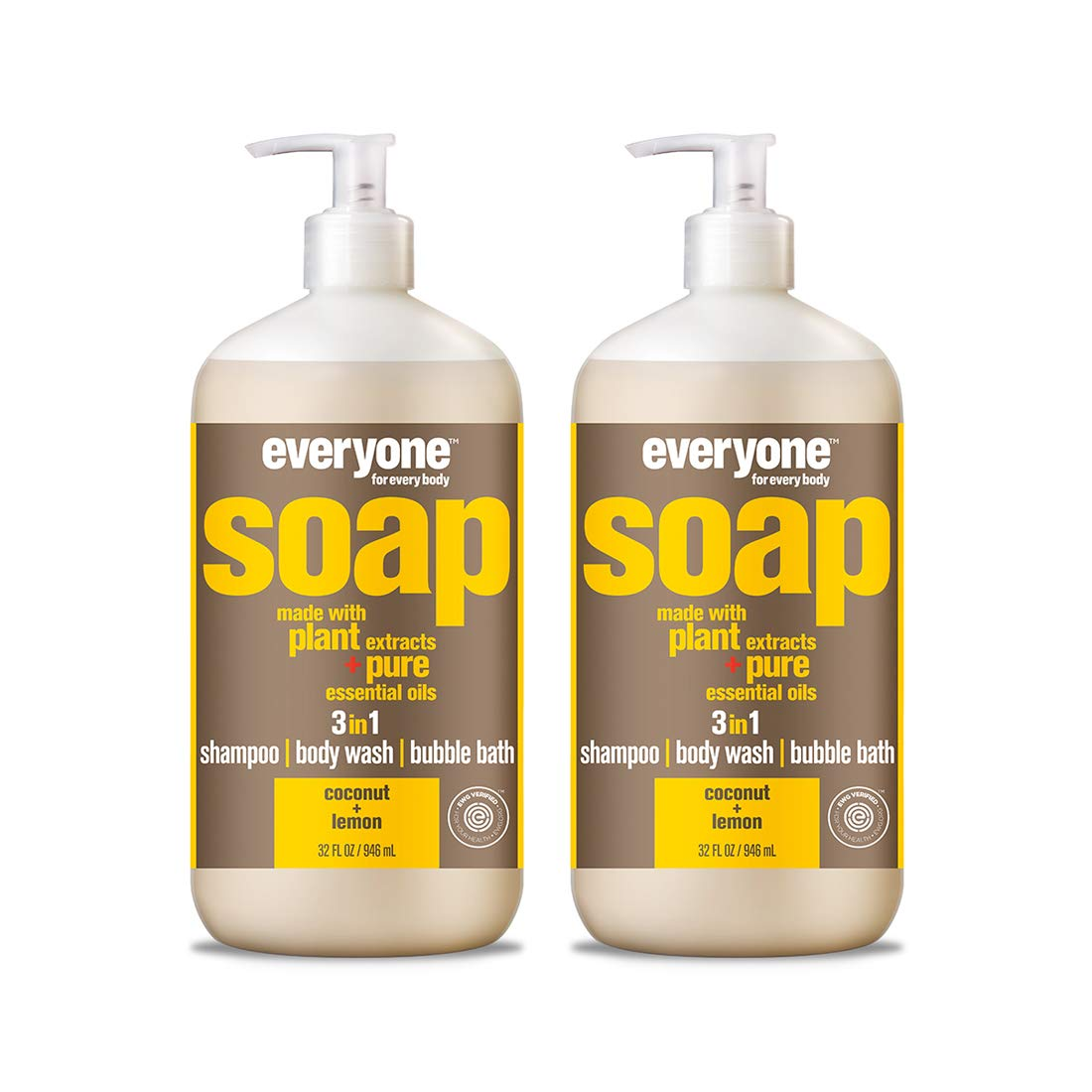 Everyone 3-in-1 Soap, Coconut and Lemon, 32 Fl Oz, Pack of 2 by Everyone