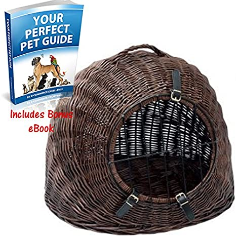 Gran cesta de mimbre para tu gato o perro - W/puerta de ...