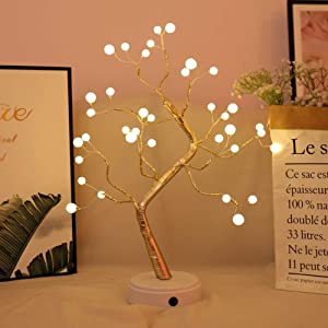 Auelife Upgraded Copper Wire Tree Branch Lights,Warm White LED with 36 White Pearls,Table Lamp for Home Decoration, Wedding Sign,Living Room,Bedroom