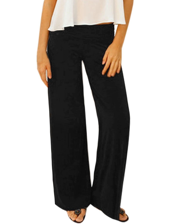 uxcell Women High Rise Elastic Waist Long Wide Legs Pants