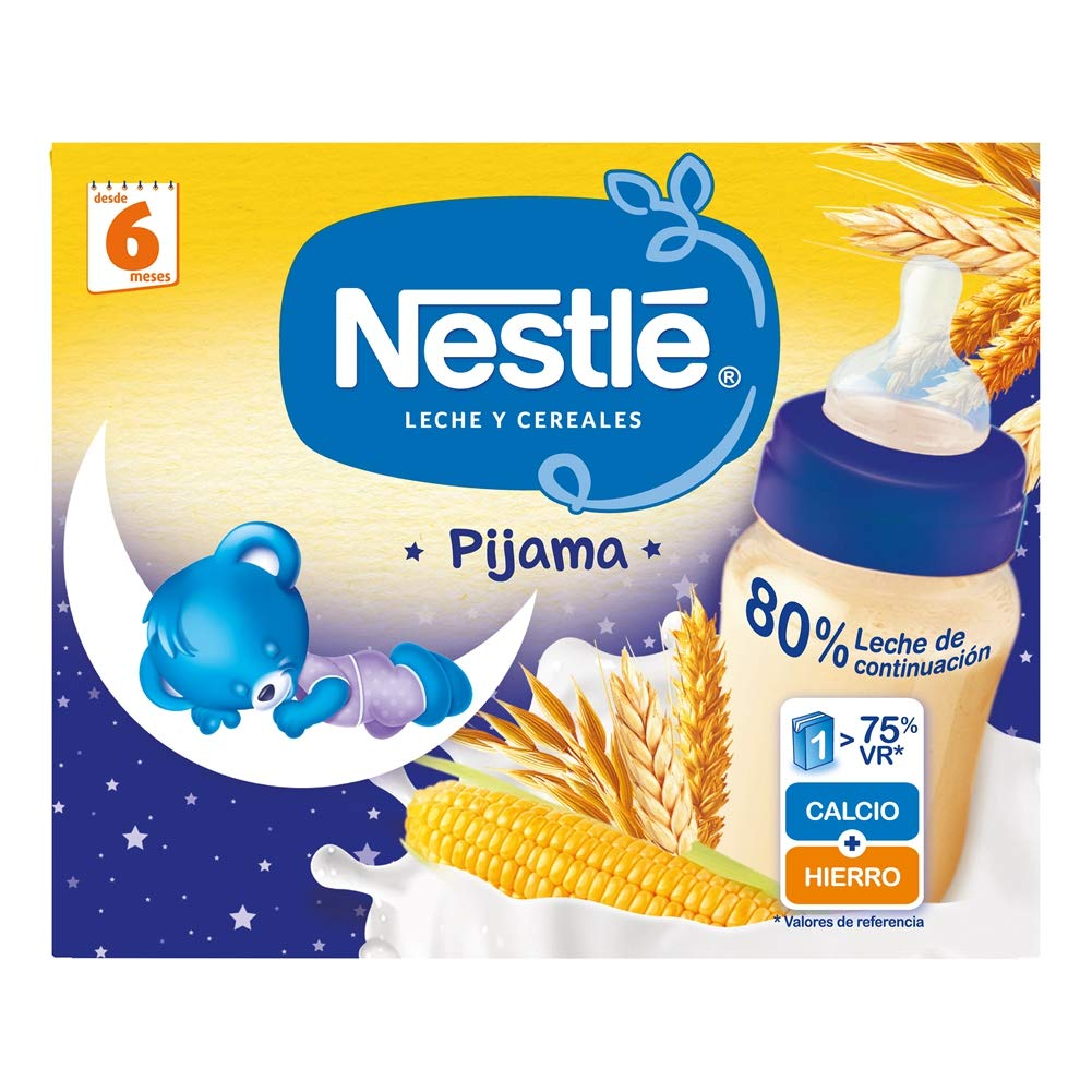 Nestlé Leche y Cereales Pijama - Alimento Para bebés - Paquete de 6x2 unidades de 250ml