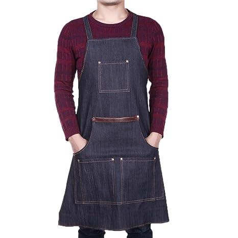Everpert Jeans Denim - Delantales de soldador de taller, bolsillo para hombres y mujeres,